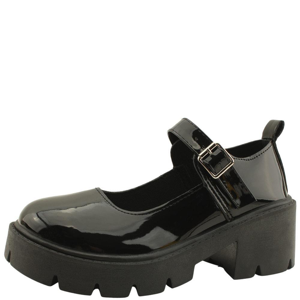 Mary jane shoes full heel middle heel enamel black