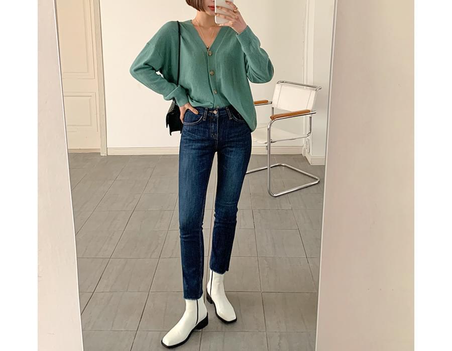 Fleece-lined Slim Straight Denim Pants