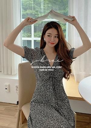韓國空運 - Sobra Shirring Flower Pleated Chiffon Long Dress 長洋裝