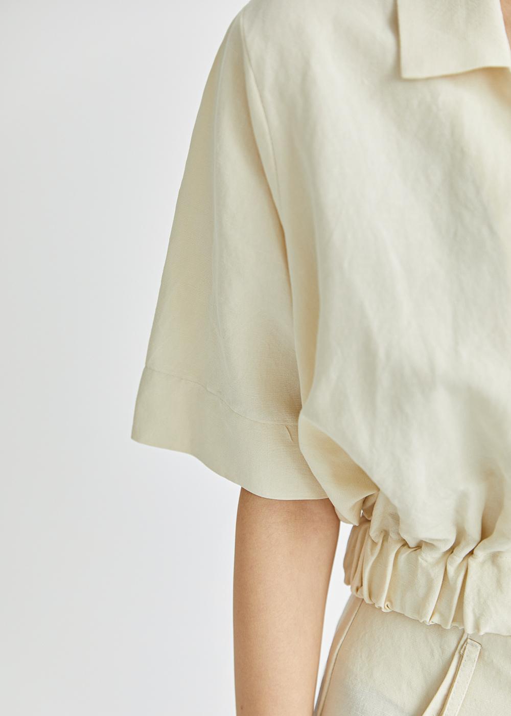 Slow linen banding top