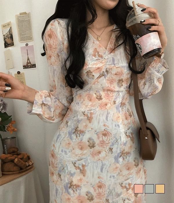 A drop of paint, flower mermaid long Dress 長洋裝