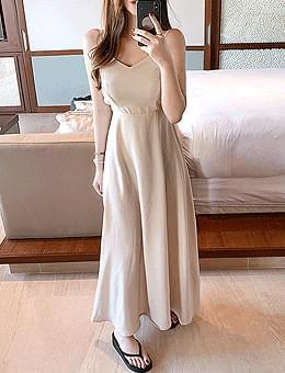 Magic Castle Banding Ribbon Sleeveless Summer Long Dress