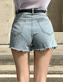 Giant Tea Unfoot Hem Cutting High Denim Short Pants Shorts