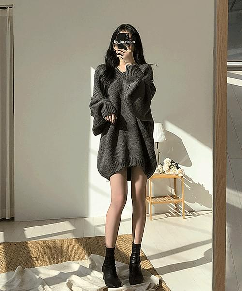 I Love You 15% Wool V-Neck Knitwear Mini Dress