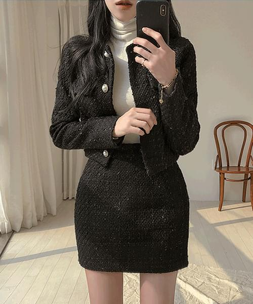 Confession Day Tweed Pearl Jacket Skirt Two-Piece Set
