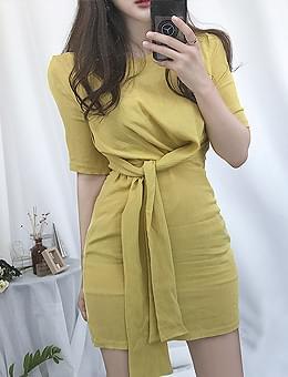韓國空運 - By chance spring wrap Dress 及膝洋裝