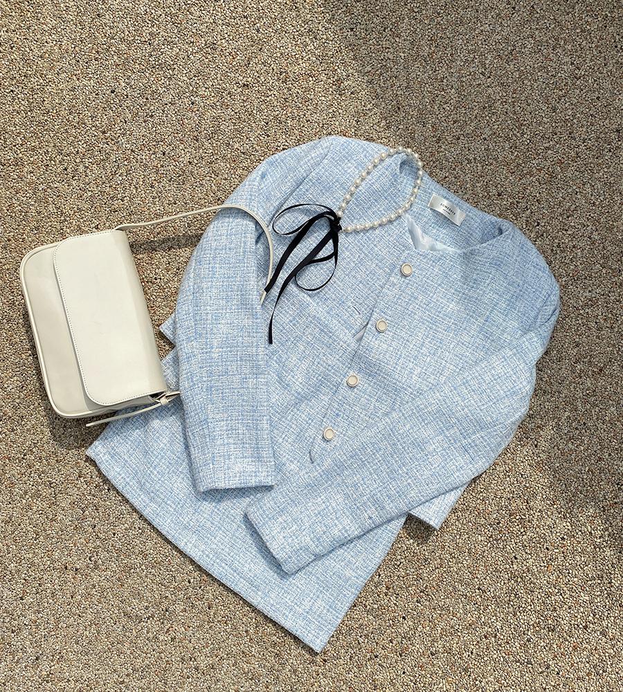Sharon Tweed Jacket + Mini Skirt Set 2color