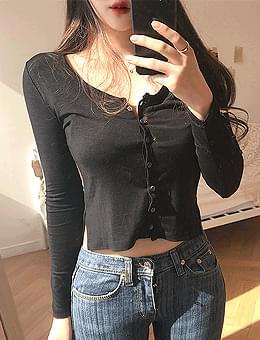 韓國空運 - Bagel cropped cardigan side-split T-shirt 針織外套