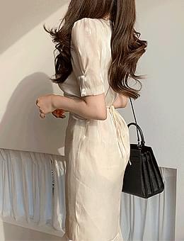 韓國空運 - Karin Silk Shirring Ribbon Ruffle Puff V-Neck Long Dress 長洋裝