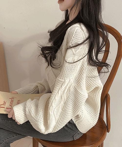 Shy Smile Twisted V-Neck Knitwear Cardigan