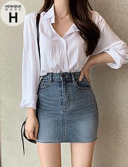 Over 4,000 pieces 155cm tight hem cut Spandex short denim mini skirt
