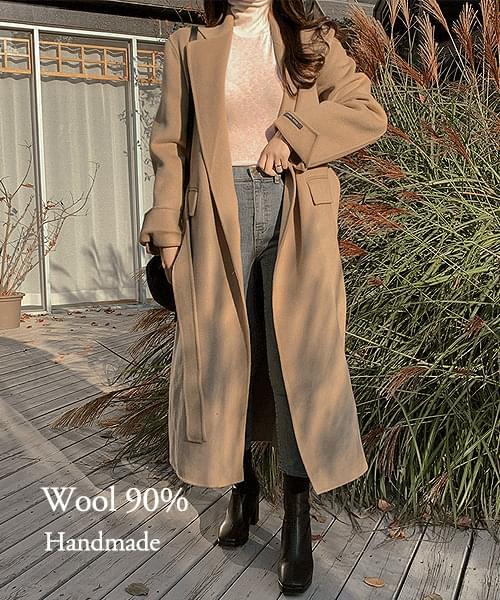 Luga Wool 90% Waist Strap Handmade Long Coat