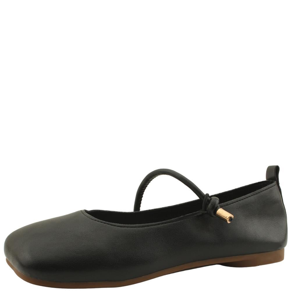 Slim Mary Jane Square Nose Flat Shoes Black
