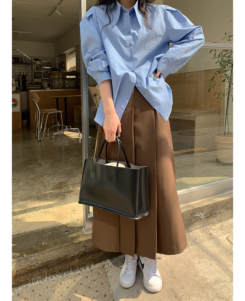 Monet Square Leather Tote Bag