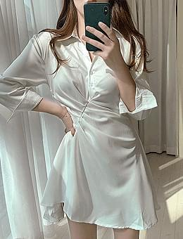 Silk glow shirred shirt mini Dress