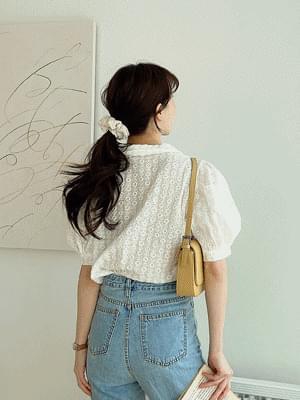 韓國空運 - Double-Danging Collar Punching Blouse 襯衫