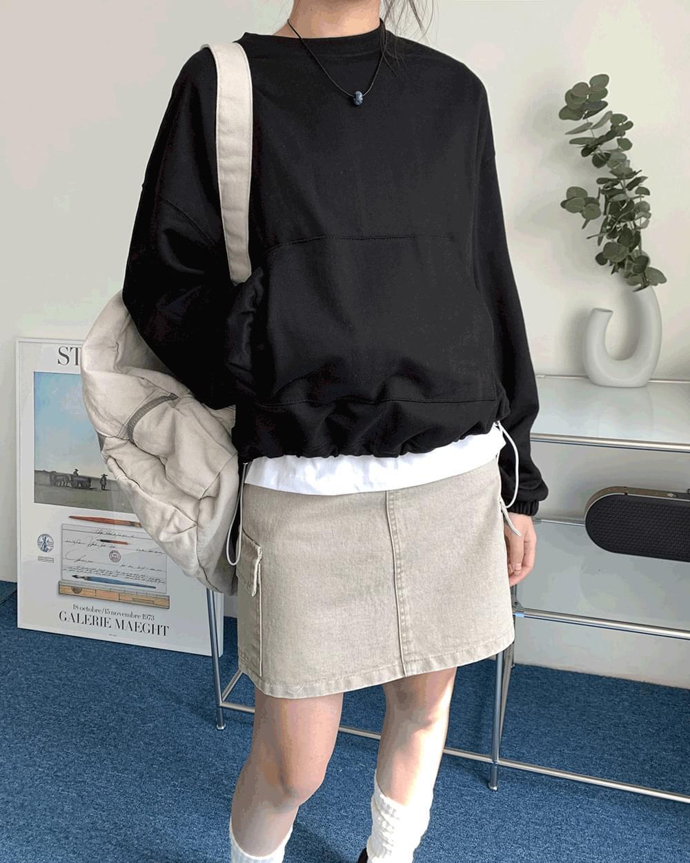 Font Loose-fit String Pocket Sweatshirt