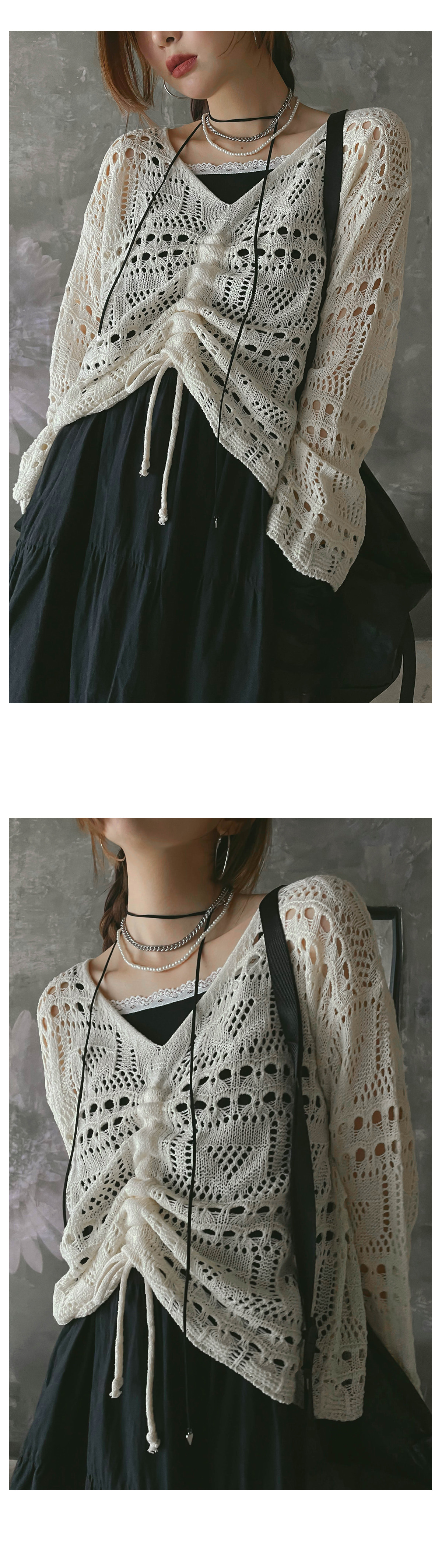 Shirred Linen Net Knitwear