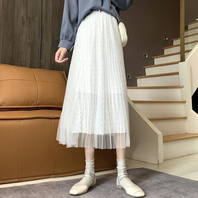 Pleated Chiffon Mesh A-line Skirt