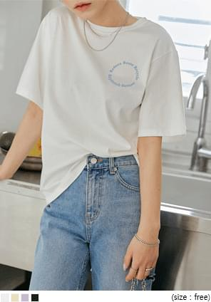Text Print Loose Fit T-Shirt