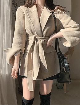 韓國空運 - Real taste sniper wool 90% waistband belt handmade half jacket coat 大衣