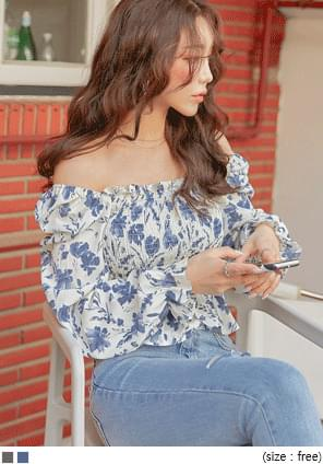 Shirred Floral Blouse
