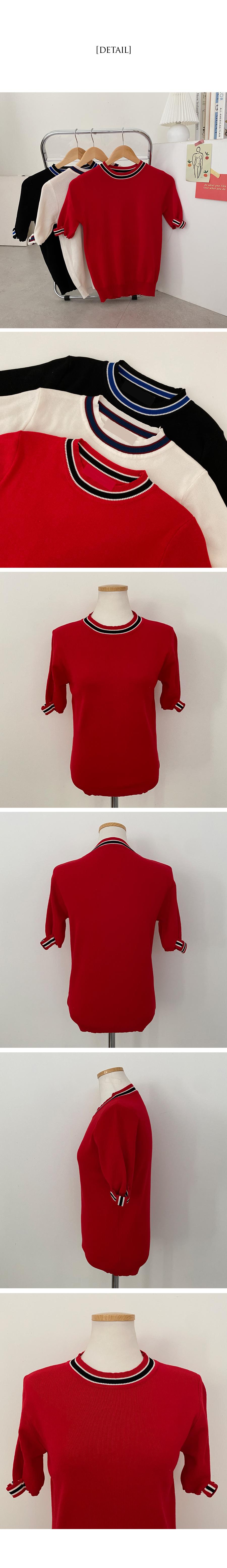 Ibiza Color Ribbon Short Sleeve Knitwear
