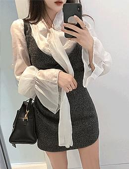 韓國空運 - Diamond sheer trumpet-sleeve ribbon blouse 襯衫