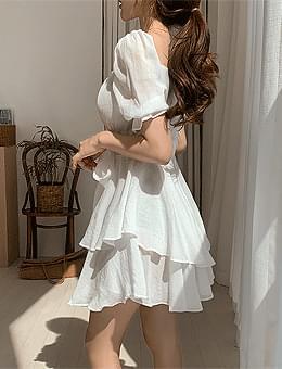 One Spring Day Ruffle Ribbon Off Shoulder Flare Short Sleeve Mini Dress