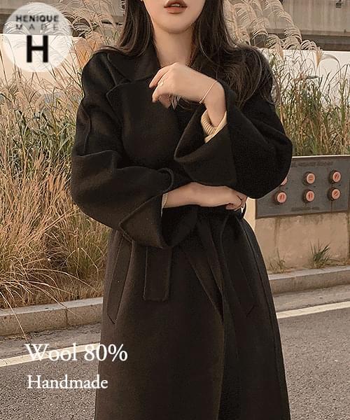155cm Quality is the best 80% Wool 80% Waist Strap Handmade Short Long Coat