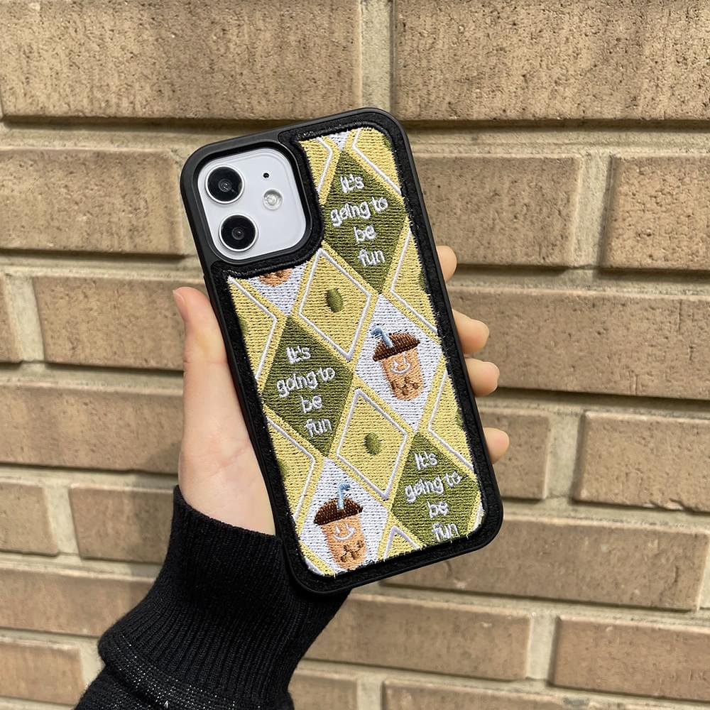 Fun Color Argyle Embroidery iPhone Case