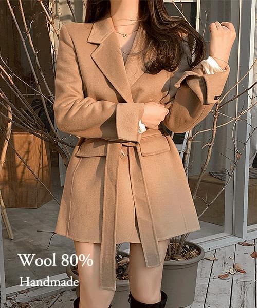 韓國空運 - Cat's Eye Wool 80% Waist Strap Handmade Coat Jacket 大衣