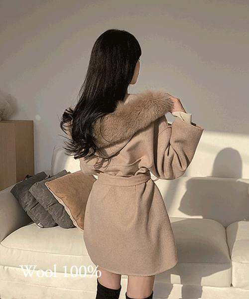 Hold your hand 100% wool fox fur hooded waistband handmade coat