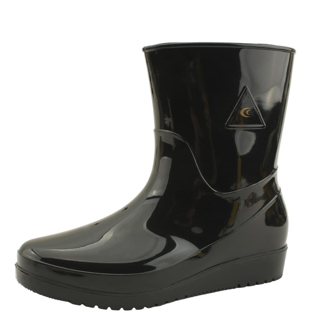 Middle Flat Rubber Rain Boots Black