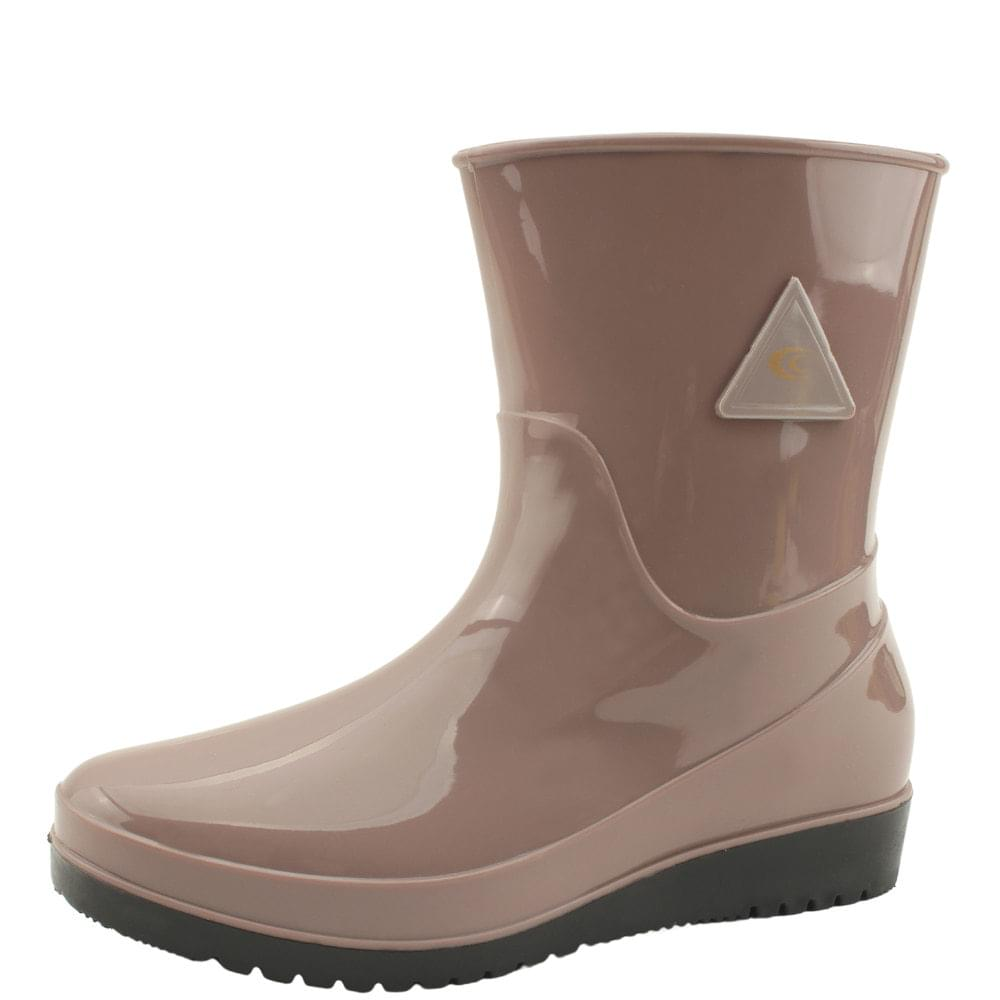 Middle Flat Rubber Rain Boots Beige