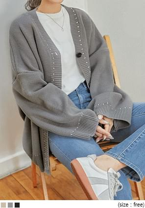 Contrast Stitch Loose Cardigan