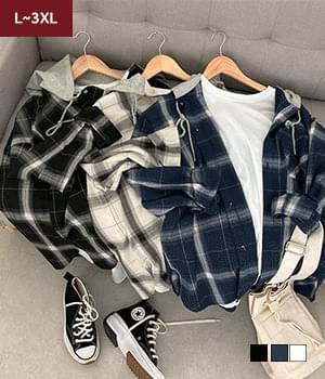 Ground check hooded shirt