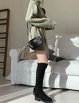 Mongsil mongsil heorikkeun Ribbed Turtleneck Knitwear Mini Dress