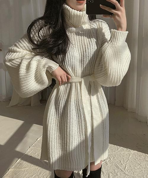 Winter Kids Hatchi Knitwear Turtleneck Waist Strap Mini Dress