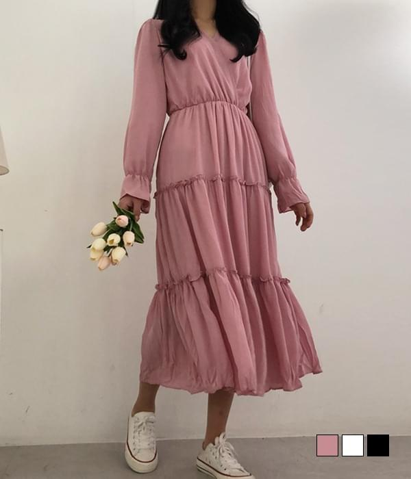 Mandatory for this season, wrinkle wrap long cancan Dress 長洋裝