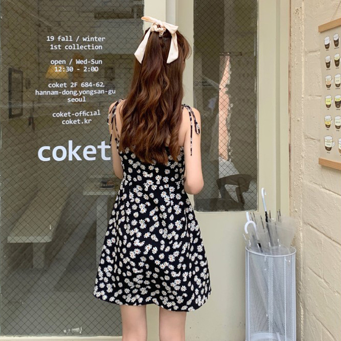Daisy Retro Ribbon Strap Dress