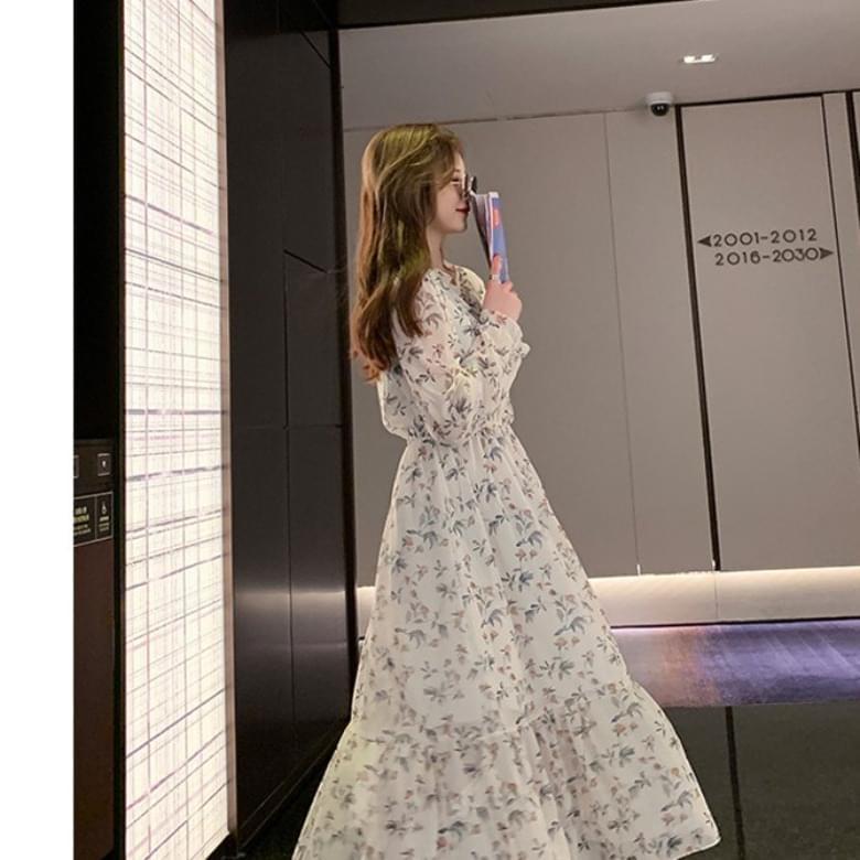 Flower wave chiffon Dress