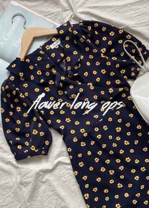 韓國空運 - Melaming Ribbon Strap Flower Dress 及膝洋裝