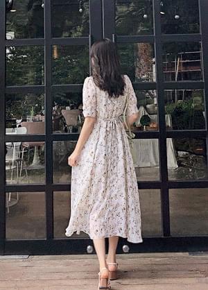 韓國空運 - Palvin Flower Lace Dress 及膝洋裝