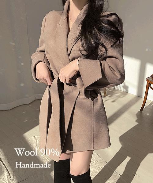 Romantic Winter Wool 90% Waist Strap Handmade Coat Jacket