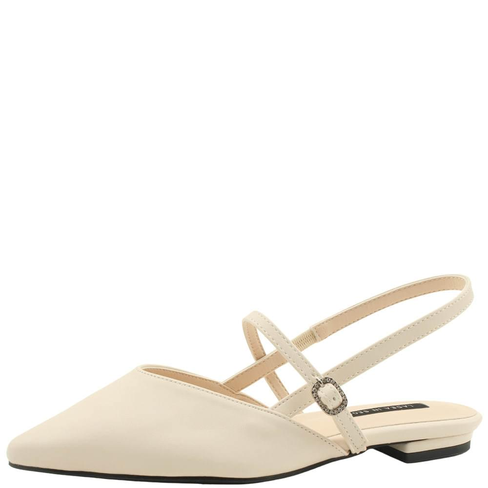 Stiletto Mary Jane Slingback Flat Beige