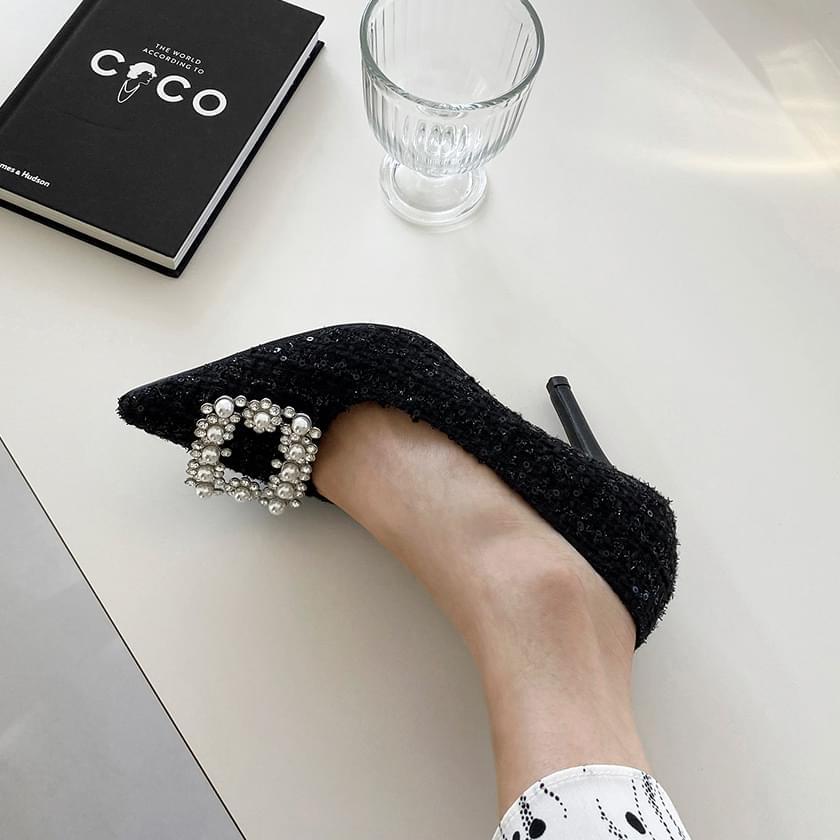 Fioren Tweed Cubic Stiletto Heel