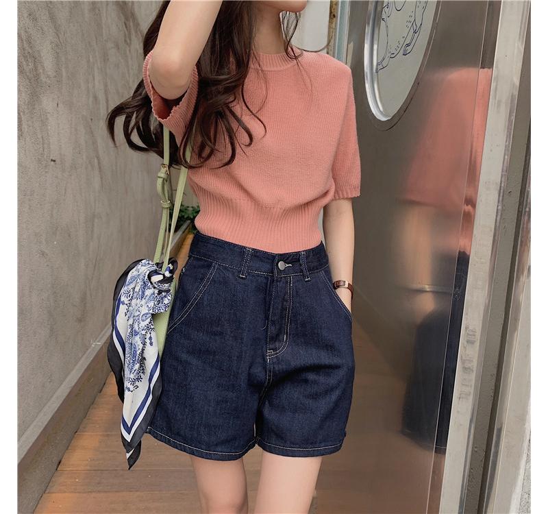 kn4057 Hippie Crop Short Sleeve Knitwear