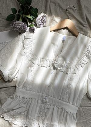 Terina lace big collar blouse