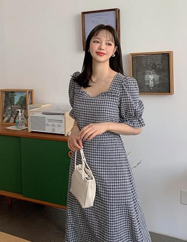 Nature Puff Banding Check Long Dress